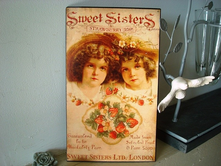 plaque publicitaire ancienne sweet sisters d co cuisine r tro plaques d coratives. Black Bedroom Furniture Sets. Home Design Ideas