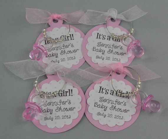 Personalized It's A Girl Baby Shower Favors Wine Charm Favors Pink Pacifer