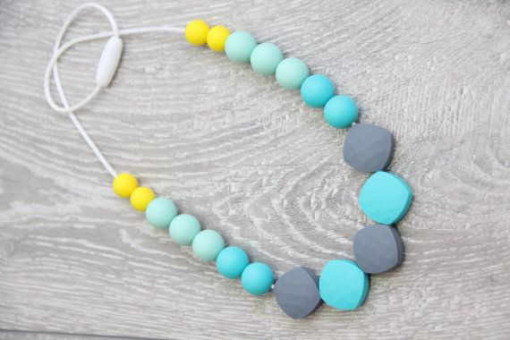Turquoise Teething & Nursing Necklace with mint от TeetherLand