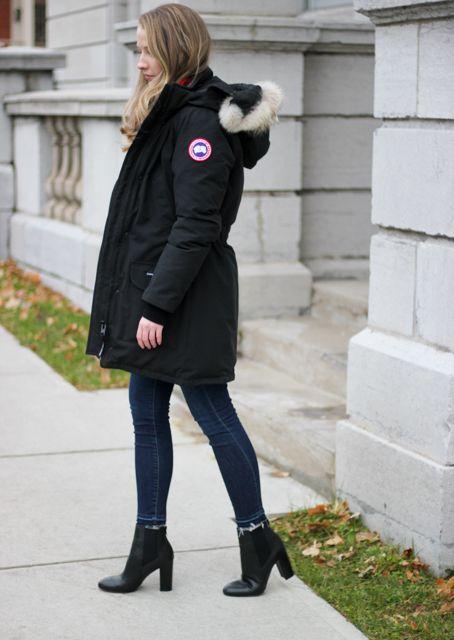 a casual winter outfit canada goose trillium parka with a festive rh pinterest com au