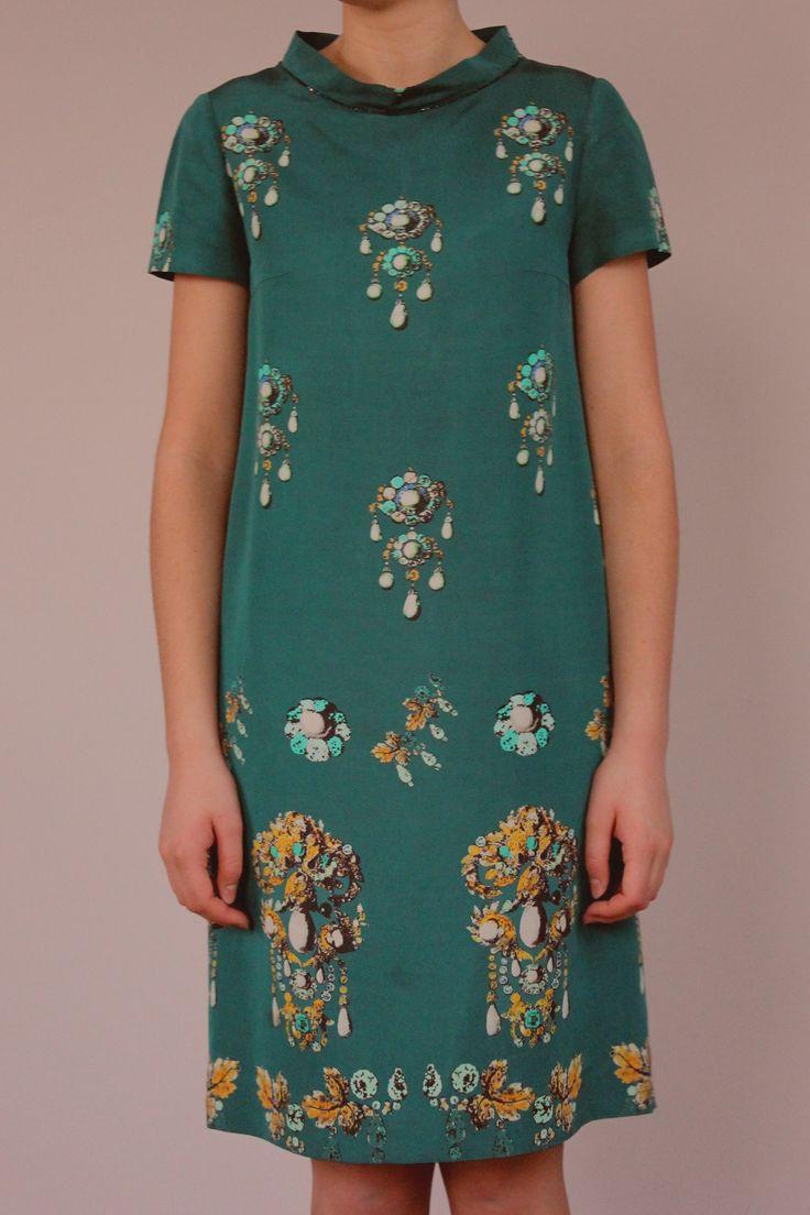 Платье из плотнго шелка Oscar de la Renta
