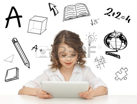 education, technology and internet concept - beautiful student girl playing with tablet pc