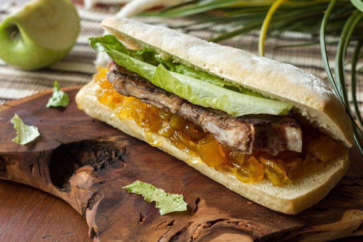 All I need to say is YUM for this pancetta apple chutney sandwich!! Taste, Love, Share! #sandwich #snack #breakfast #recipeoftheday #akispetretzikis