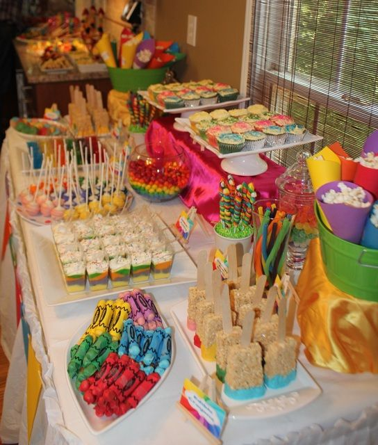 "Like the popcorn in the paper cones and colorful pudding!    Photo 2 of 16: Art Party / Summer ""Rainbow Art Party"" 