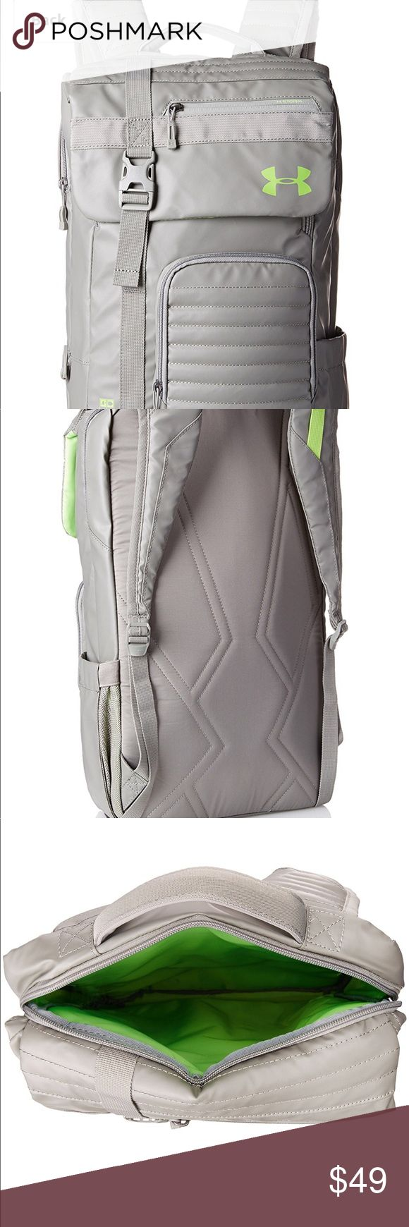 Under armor backpack brand new w/tags,perfect size Secure, wide-mouth, top-entry compartment allows you to easily load & unload. UA Storm gear uses a finish to repel water without sacrificing breathability. Foam reinforced panels help protect your gear. Soft lined laptop sleeve-holds laptop. Adjustable, padded, Heat Gear shoulder straps for total comfort. Ergonomic foam back panel for comfortable wear. PU-coated open pocket on side, ideal for a water bottle. Accessible top front pocket…