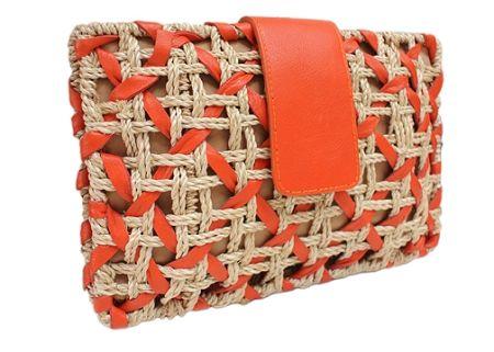 Abaca Leather Orange Clutch Bag Vincent Pradier