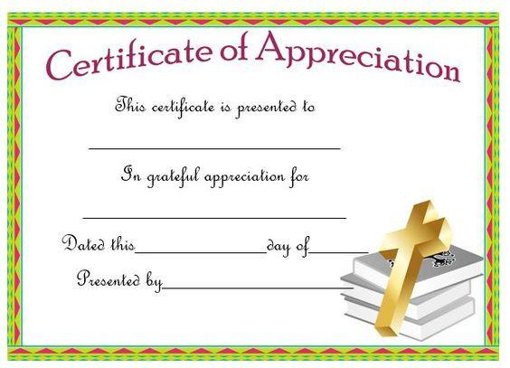 21 best Pastor Appreciation Certificate Templates images on - certificate of appreciation words