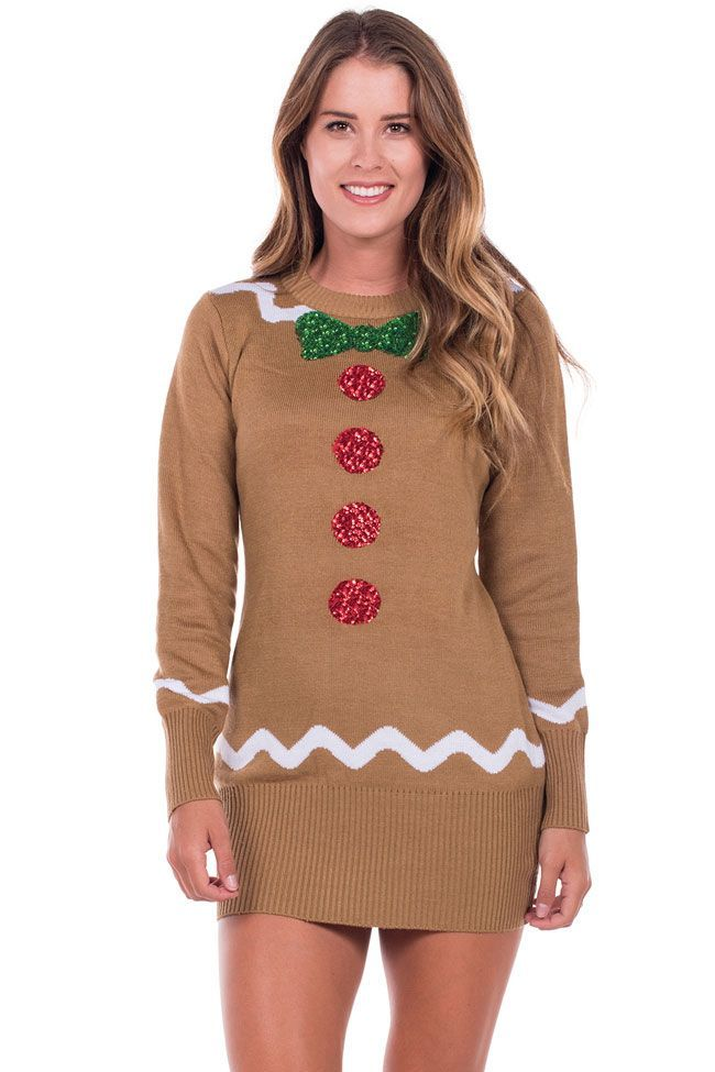 3d318a14b75 Women s Gingerbread Christmas Sweater Dress
