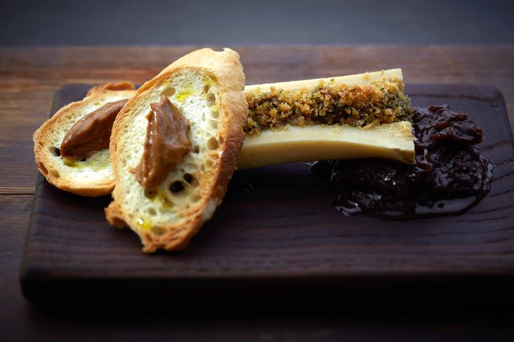 Baked smoked bone marrow, onion jam and sourdough, gentleman's relish butter.