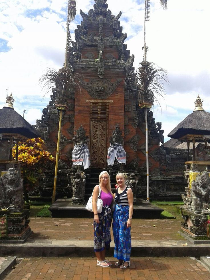 Traci and her Mom sightseeing Batuan Temple.