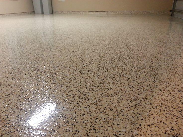 Tan Epoxy W Tan Blend Flakes 2 Car Garage Chemical