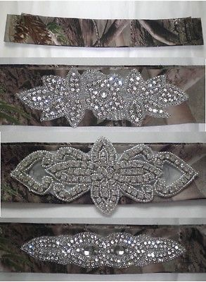 Camo Realtree AP Bridal Wedding Belt Plain or with Rhinestones