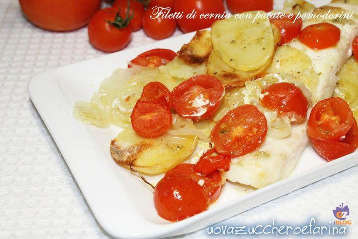 Filetti di cernia con patate e pomodorini