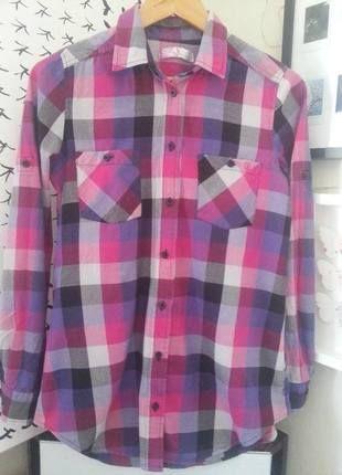 Różowo-fioletowa koszula w krate