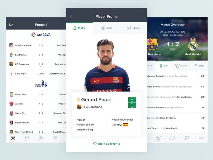 Sports App Screens by Alexey Tretina