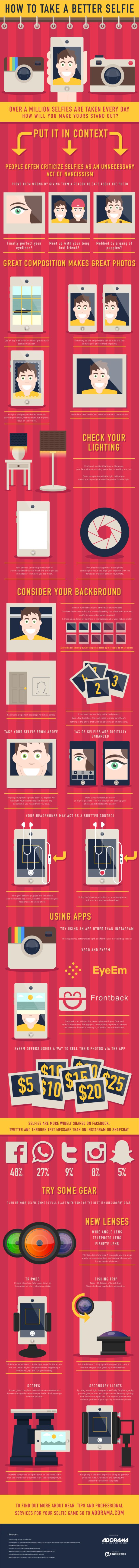 Everyone takes selfies, but not everyone takes good selfies.  Check out this infographic for tips to help you selfie like a pro,