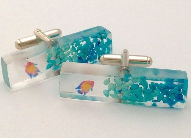 Go fish - resin and sterling silver cufflinks £39.00