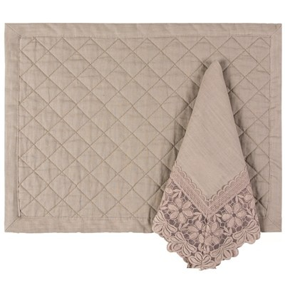 Lili Alessandra Table Linen Emily Diamond Quilted Natural Placemat Set