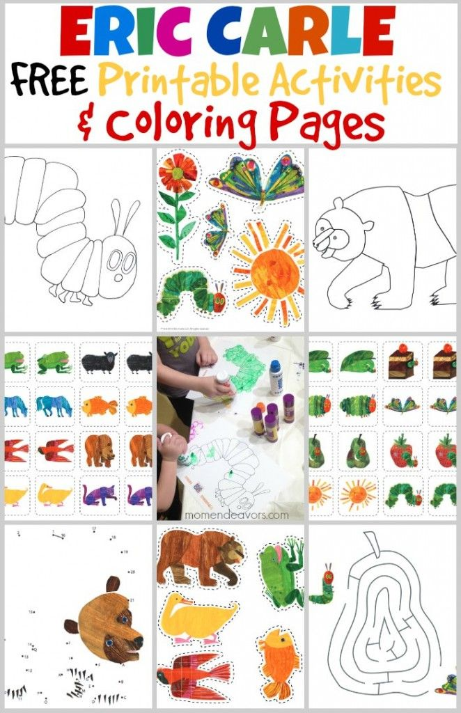 Bedtime & Playtime with The World of Eric Carle – FREE Printable Activities- By SARA @MOMENDEAVORS These activities are SO great for preschoolers! There are caterpillar and bear coloring pages, mazes, and connect-the-dots printable activities. Plus, you'll find printable memory game cards and Create a World cutouts with the bright, fun Eric Carle animals!