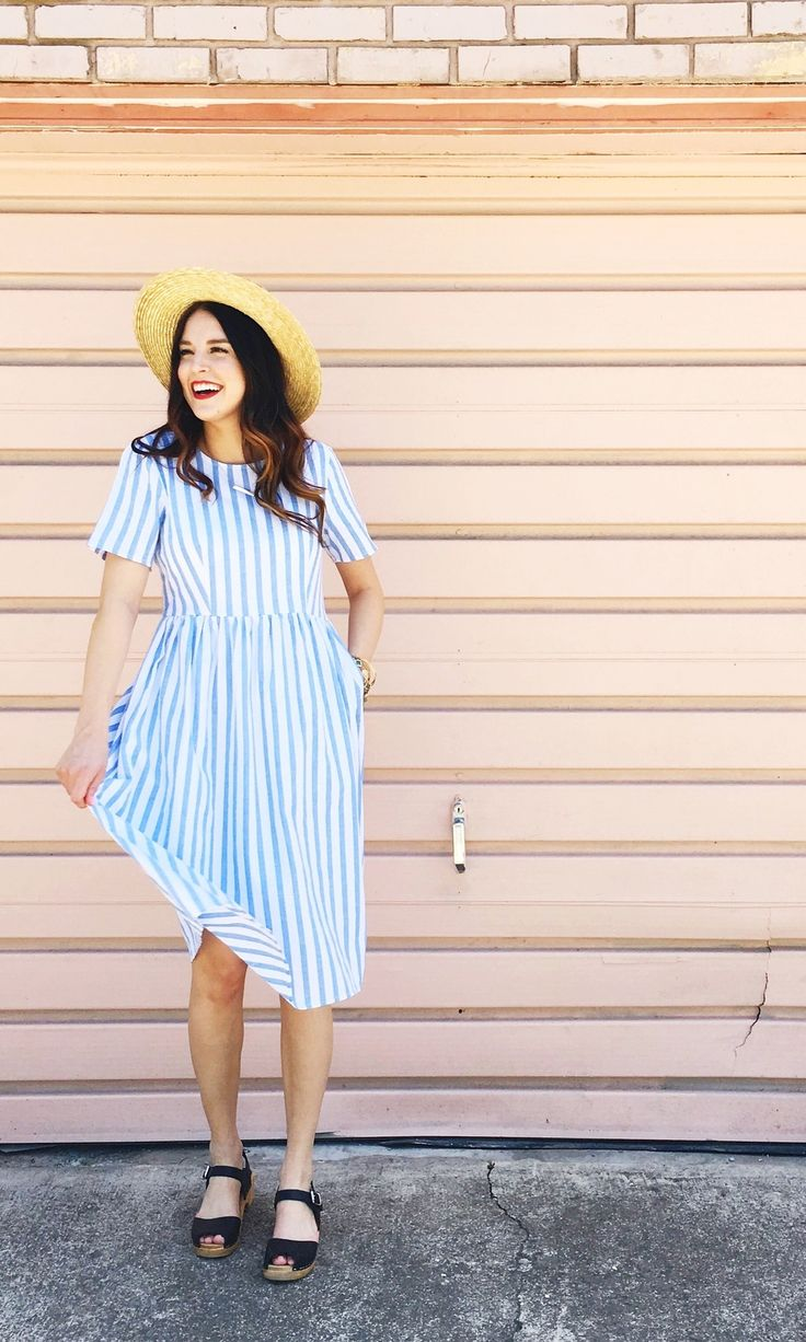 Summer Blue Striped Dress | ROOLEE