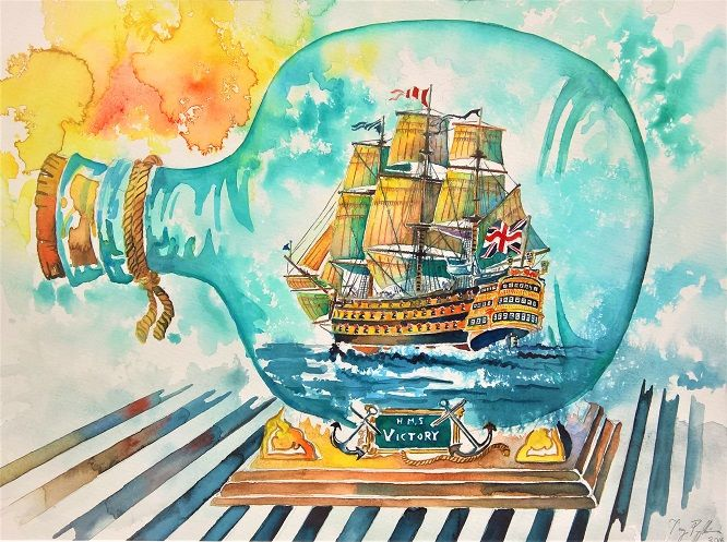 """A Ship in a Bottle/HMS Victory"", watercolour on paper, 46x34cm, 2016"