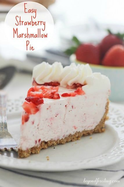 Easy Strawberry Marshmallow Pie. The BEST no-bake strawberry pie you will ever have! Full of cream cheese, marshmallow fluff and Cool Whip.