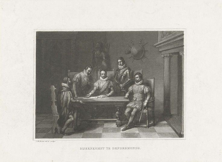 Johann Wilhelm Kaiser (I) | Bijeenkomst te Dendermonde met Willem van Oranje, 1566, Johann Wilhelm Kaiser (I), 1847 - 1849 | Bijeenkomst te Dendermonde waarin Willem van Oranje een onderschepte brief van de Spaanse gezant te Parijs ter tafel brengt, 3 oktober 1566. Interieur met vijf mannen rond een tafel.