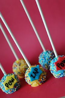 FAVORITE!!! Superhero Cake Pops & other Superhero party ideas