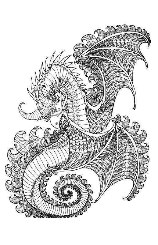 """Páginas de libro de colorear de adultos 3 - páginas del libro para colorear previo al lanzamiento de Tyler Warren - 11 """"x 17"""" alas de Dragon - nivel 1, 2 y 3"""