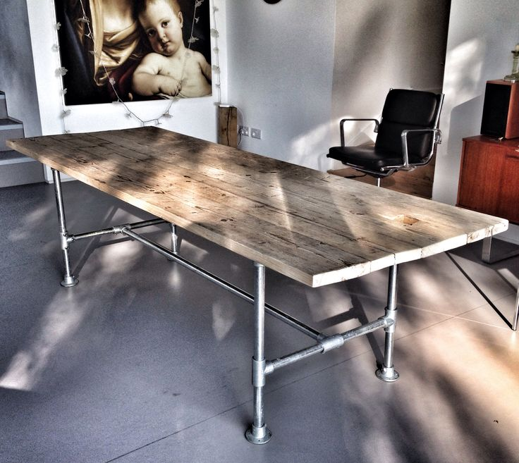 Scaffold board and pipe dining table, industrial furniture. #table #scaffold #industrial