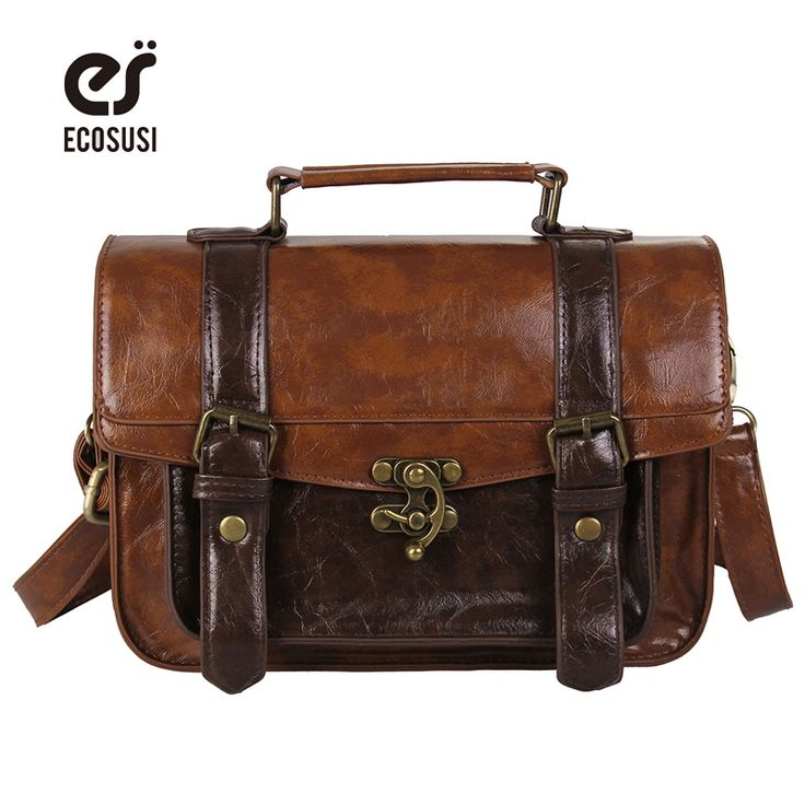 ECOSUSI Preppy Style Women Briefcase Classic Mori Girl Women Leather Satchel Handbags Leisure Portable Women Messenger Bags
