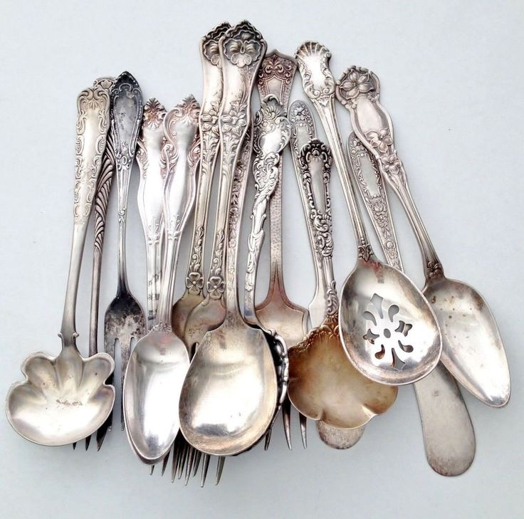 15 Fancy Old Forks Spoons Antique Silver Silverplate Flatware Mix Lot Variety NR  sc 1 st  Pinterest & 50 best Vintage u0026 Antique Silver Flatware Sterling Silverplate ...