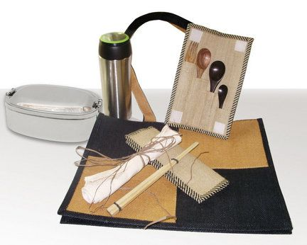 The Green Dining kit from Give a Green Bag contains a stainless steel carrier for take-out foods, a 12-ounce stainless steel hot/cold beverage mug with tea strainer, a bamboo utensil set with chopsticks, a cloth napkin, a reusable sandwich wrapper and a block-pattern tote bag. $48 at giveagreenbag.com.: Green Bag