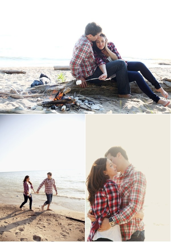 Engagement session with plaid and a campfire, so cute!
