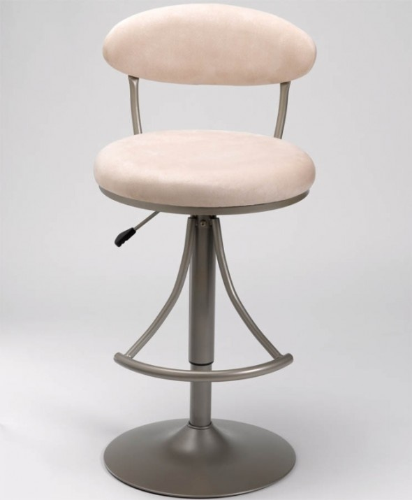 Elegant And Wonderful Fawn Suede Upholstered Bar Stool