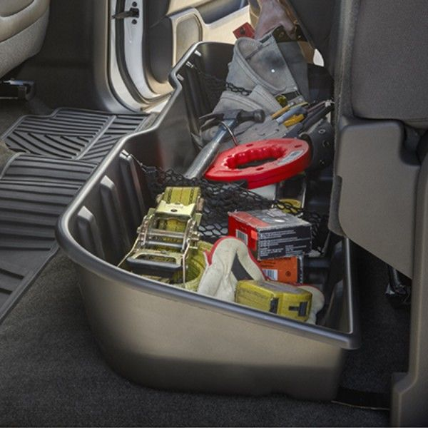 Sierra 1500 Underseat Storage Organizer, Ebony, Double Cab:Contain, organize and conceal items under the rear seat of your vehicle with this durable molded plastic Underseat Storage Box.