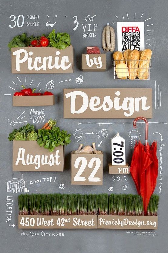 Mooi fris design met combinatie van fotografie, typografie en illustratie. Food / poster (by Input Creative Studio)