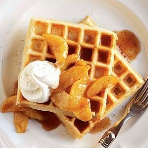 Cinnamon Waffles with Caramelized Apples | Recipe