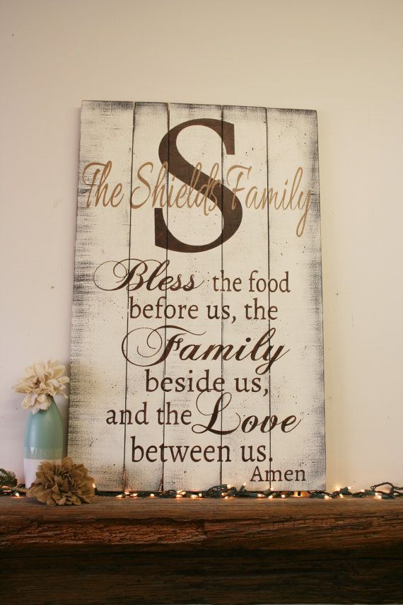 Bless the food family sign wood kitchen sign pallet sign for Shabby chic dining room wall art