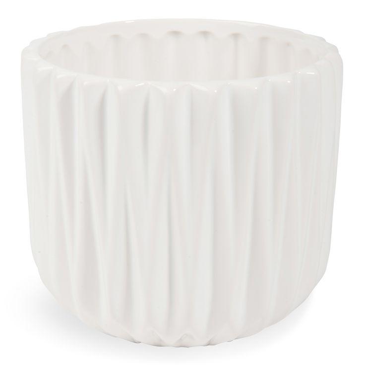 Cache-pot en céramique blanc H 13 cm TOBIAS