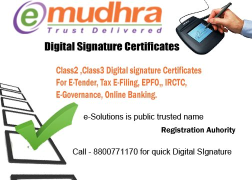 Buy Digital signature at effective price of e-Mudhra or n(Code) Solutions for ITR Returns or e-Filing. Digital Signature is very useful technology that use for several proposes. It is first step of Digital India. e-Solutions is top ranked Digital Signature Provider in India that provide best clients satisfaction support.