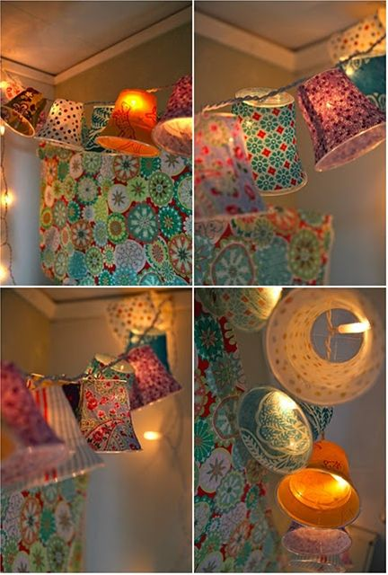 String Lights With Fabric : Cover plastic cups in fabric, attach to string lights How unbelievably cute and easy! I m so ...