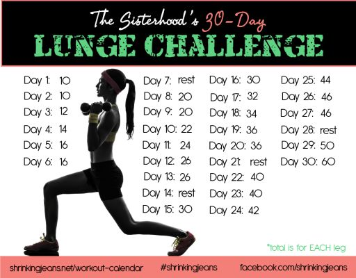 30-Day Lunge Challenge #shrinkingjeans #workoutcalendar #fitness