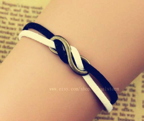 Infinity bracelet, infinite hope bracelets, Black and white cotton rope winding each other bracelet, special bracelets on Wanelo