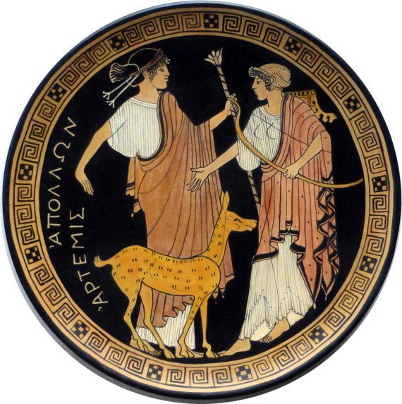 Ornamental plate handpainted, inspired by ancient Greek pottery. #Apollo ##Artemis #Diana #fawn #wildlife #arrows #bow #arts  #music #poetry