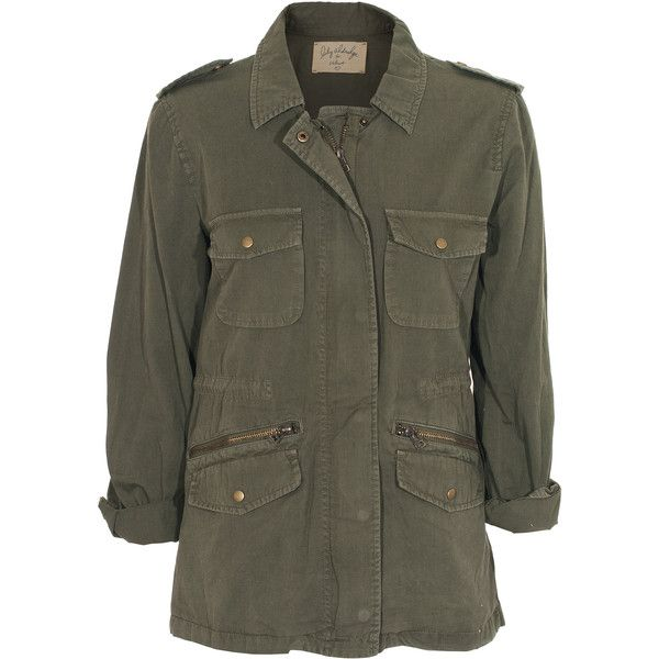 LILY ALDRIGE FOR VELVET Ruby Army Forest Cotton military jacket (390 BAM) ❤ liked on Polyvore featuring outerwear, jackets, coats, parka, army field jacket, cotton jacket, khaki jacket, field jacket and military parka jacket