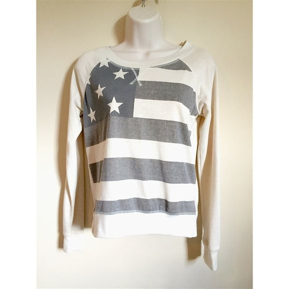 AMERICAN FLAG SHIRT Size = small, American flag sweatshirt, very comfy, great for fall and winter!  ~ I DO NOT SWITCH, SO PLEASE DON'T ASK. YOU WILL BE IGNORED.  ~ I NO LONGER HOLD MY ITEMS, FIRST COME FIRST SERVE.   ~YOUR PURCHASE WILL BE SHIPPED WITHIN 24-48 HOURS AFTER PURCHASED, FROM THAT POINT ON I CANNOT CONTROL HOW LONG IT WILL TAKE FOR THE SHIPPING SERVICE TO GET IT TO YOU. *PLEASE BE PATIENT*  ~I AM MORE THAN HAPPY TO MAKE YOU A BUNDLE. Tops Sweatshirts & Hoodies