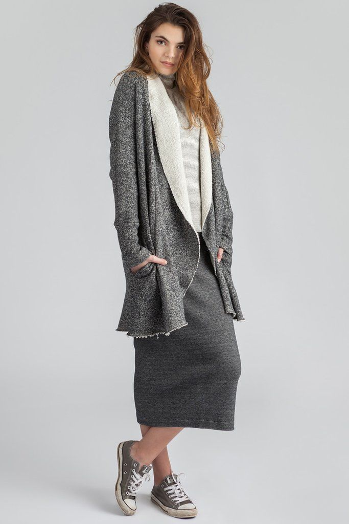 Long cards with raw edges. Pockets! Shawl collar. Waterfall cardi. Cozy cardi. Rib skirt. Midi length. Super stretchy.