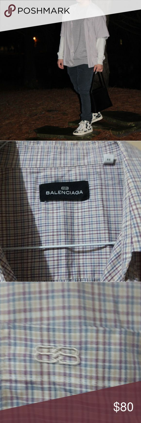BALENCIAGA plaid button up 100% authauthentic men's size L  Great condition no tears or holes  Amazing quality very comfy and perfect for layering  Smoke free home   #saksfifth #neiman marcus #ferragamo #versace #gucci #vlone #burberry #rick owens #raf simons #off white #virgil abloh #yohji yamamoto #palace #supreme #a bathing ape #bape #louis vuitton #Christian louboutin #giuseppe zanotti #fear of god #yeezy #kanye West Balenciaga Shirts Casual Button Down Shirts