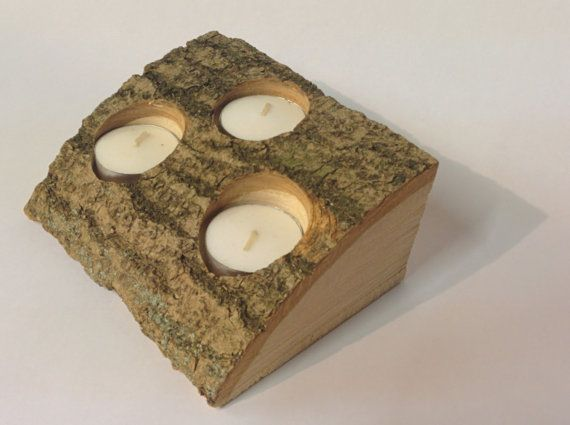 Natural Log Tea Light Holder Trio Sustainable by BarkWoodDesigns